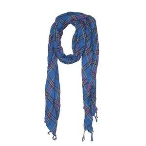 [13-39] Maurices | blue plaid fringe knit scarf